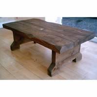 New Hand Made Dark Chunky Rustic Coffee Table