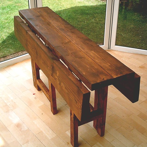Rustic Fold Down Table Space Saving Folksy