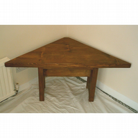 Large Handmade Solid Wood Rustic Corner Table