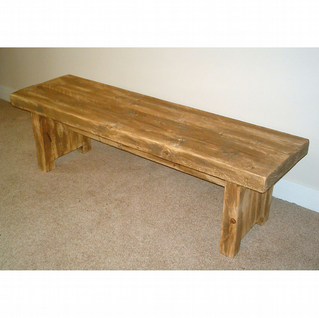 Rustic Kitchen Table With Benches That Can Slide: Hand Made Rustic Kitchen Bench