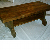 Large Hand Made Rustic Coffee Table with Shelf - stained in jacobean oak