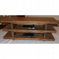 Handmade Rustic 3 Tier Widescreen TV Unit in Thick Solid Wood