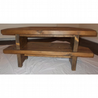 Hand Made Rustic Corner TV Stand - Stained in Jacobean Oak