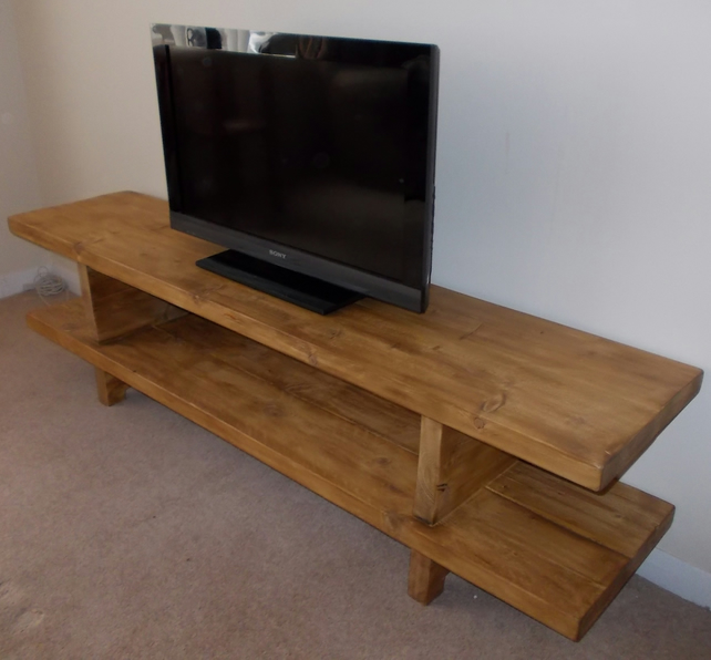 New 180cm Wide Rustic Widescreen TV Unit in Heavy Solid Wood