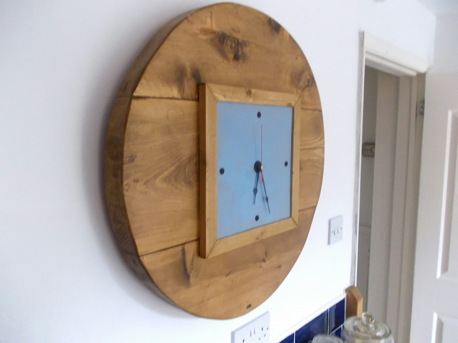 Large Hand Made Rustic Kitchen Clock