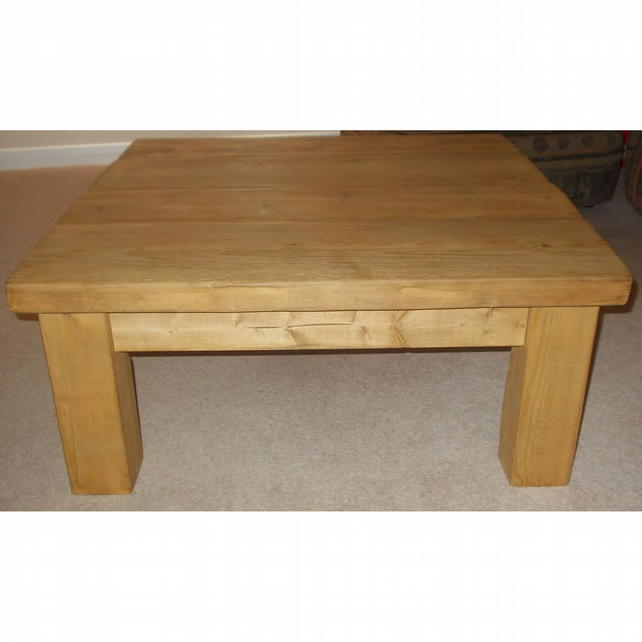 Chunky Rustic Square Coffee Table Folksy