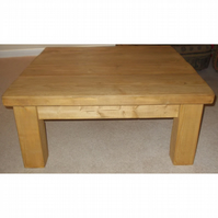 Large Rustic Square Coffee Table - stained in medium oak
