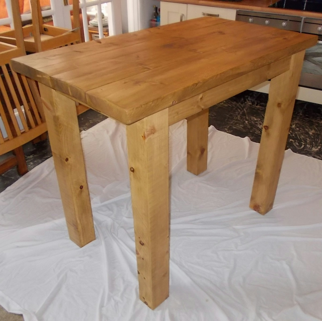 rustic chunky hand made breakfast bar table