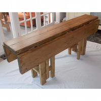 Large Handmade Rustic Drop Leaf Kitchen Dining Table - 4 gate legs