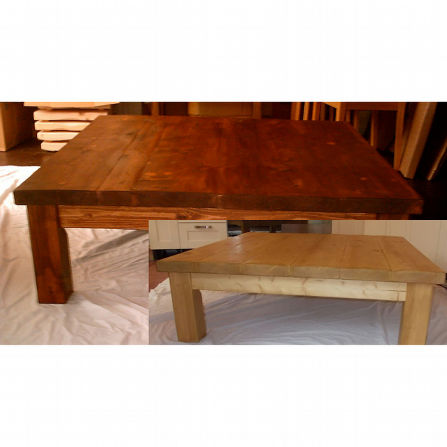 Very large and chunky rustic square coffee table