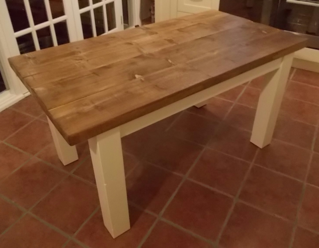 Farmhouse rustic kitchen table with painted legs