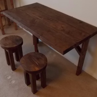 Rustic Space Saving Dining Table and 2 Matching Stools