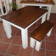 New Handmade Rustic Kitchen Table & Bench Set