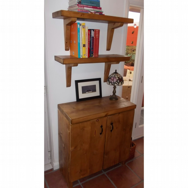 Chunky rustic Kitchen Cupboard, Sideboard with Matching Shelves
