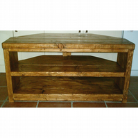 Large Hand Made Rustic Corner TV Unit in Thick Solid Wood