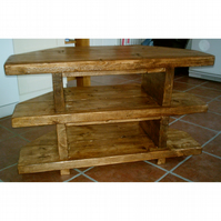 Handmade Rustic 3 Tier Corner TV Unit in Thick Solid Wood