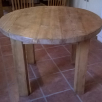 Round Rustic Plank Kitchen Dining Table