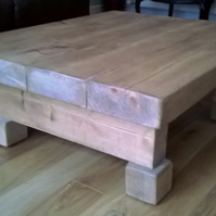 3 Inch Thick Chunky Rustic Coffee Table - Various Sizes