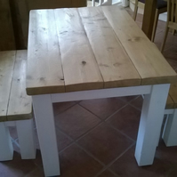 Chunky rustic table and benches