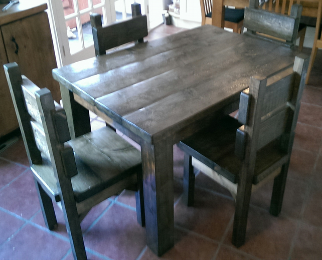 Chunky Rustic Plank Kitchen Table and Four Chairs, Hand Made