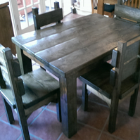 New Hand Made Rustic Plank Kitchen Table and Four Chairs
