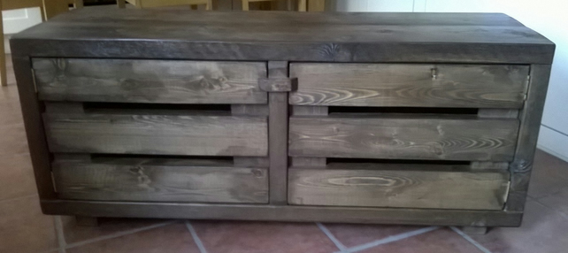 Rustic and chunky plank widescreen tv cabinet