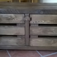 Brand New Hand Made Rustic Widescreen TV Cabinet in jacobean oak
