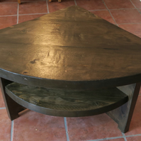 Handmade Solid Wood Rustic Corner Table With Shelf