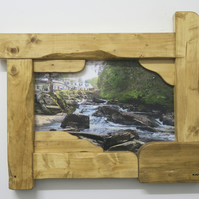 Hand made rustic sculptured frame with scottish scenery photograph wall art