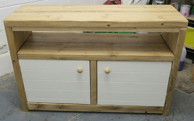 hand made chunky cabinet or sideboard with white painted doors