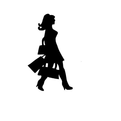 Shopping Lady Silhouette For Card Scrapbook Folksy