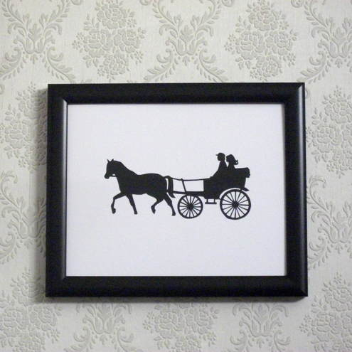 "Horse & Cart papercut  8"" x 10"" - ORIGINAL"