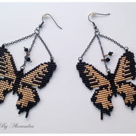 Butterfly Earrings - Black and Gold