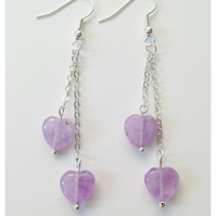 Lavender Amethyst Hearts and Chain Earrings