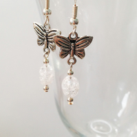 Clear Crackled Quartz and Butterfly Earrings