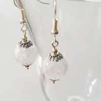 Clear Crackled Quartz Earrings