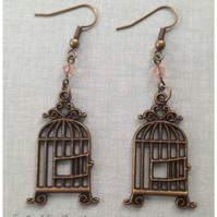 Birdcage and Swarovski Crystal Earrings