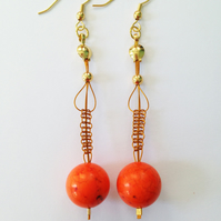 Magnesite and Beading Wire Earrings - Bright Orange