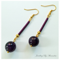 Purple Amethyst and Wire Earrings