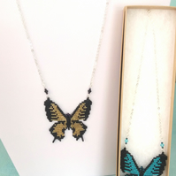 Beaded Butterfly Necklace - Black and Gold