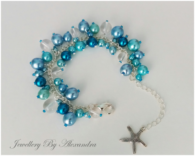 Cluster Bracelet-Blue with Starfish Charm