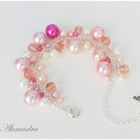 Cluster Bracelet-Pink and Cream with Dragonfly Charm