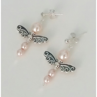 Pearly Dragonfly Earrings-Pink