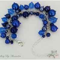 Cluster Bracelet-Dark Blue with Star Charm