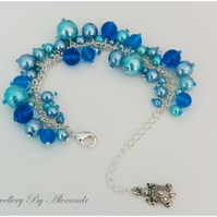 Cluster Bracelet-Blue with Turtle Charm