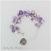 Cluster Bracelet-Lilac, Purple and White with Heart Charm