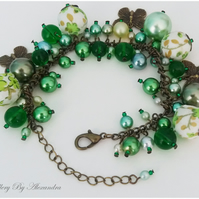 Cluster Bracelet-Green with Cotton Wrapped Beads and Butterfly Charms