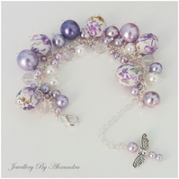 Cluster Bracelet-Lilac and White with Cotton Wrapped Beads and Dragonfly Charm