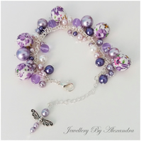 Cluster Bracelet-Lilac with Cotton Wrapped Beads and Dragonfly Charm