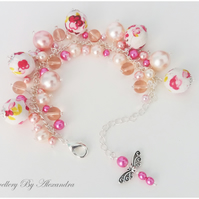 Cluster Bracelet-Pink with Cotton Wrapped Beads and Dragonfly Charm